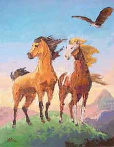 The Horses from Disney's Spirit painted by Tom Lohre.