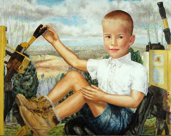 Oil painting of a young boy on a bull doser by Tom Lohre.