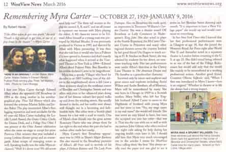 Story in West Village News about Myra Carter with painting of her apartment  by Tom Lohre.