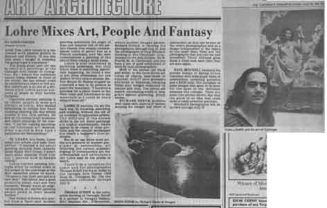 Newspaper article about Tom Lohre's show at the Carniege Art Center, Covington, Kentucky , June 28, 1981 by Owen Findsen.