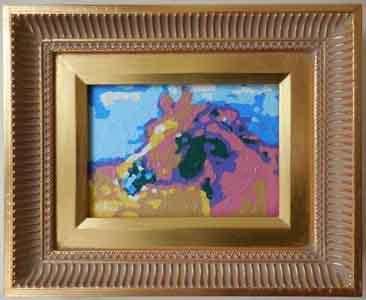 Arabian Horse Impressionist Oil Painting in Faux Gold Frame by Tom Lohre