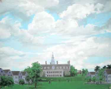 Oil painting of Bennington College, Vermont by Tom Lohre.