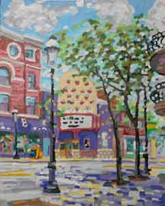 Clifton Gaslight Cincinnati Ohio impressionist painting  using a pancake  griddle by Tom Lohre.