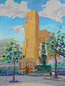 The Crew Tower, Cincinnati, Ohio, impressionist oil painting by Tom Lohre.