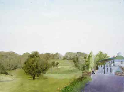 Devou Golf Clubhouse ouil painting by Tom Lohre.