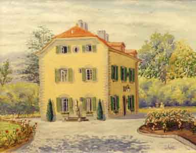 Dreyfus Home, Chateau Pomme Geneva Switzerland oil painting by Tom Lohre.