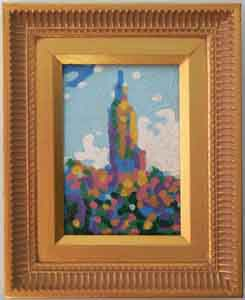 Empire State Building II Small Impressionism Oil Painting in Faux Gold Frame by Tom Lohre