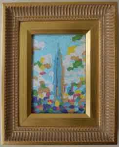 Empire State Building III New York New York Impressionism Oil Painting by longtime resident Tom Lohre.