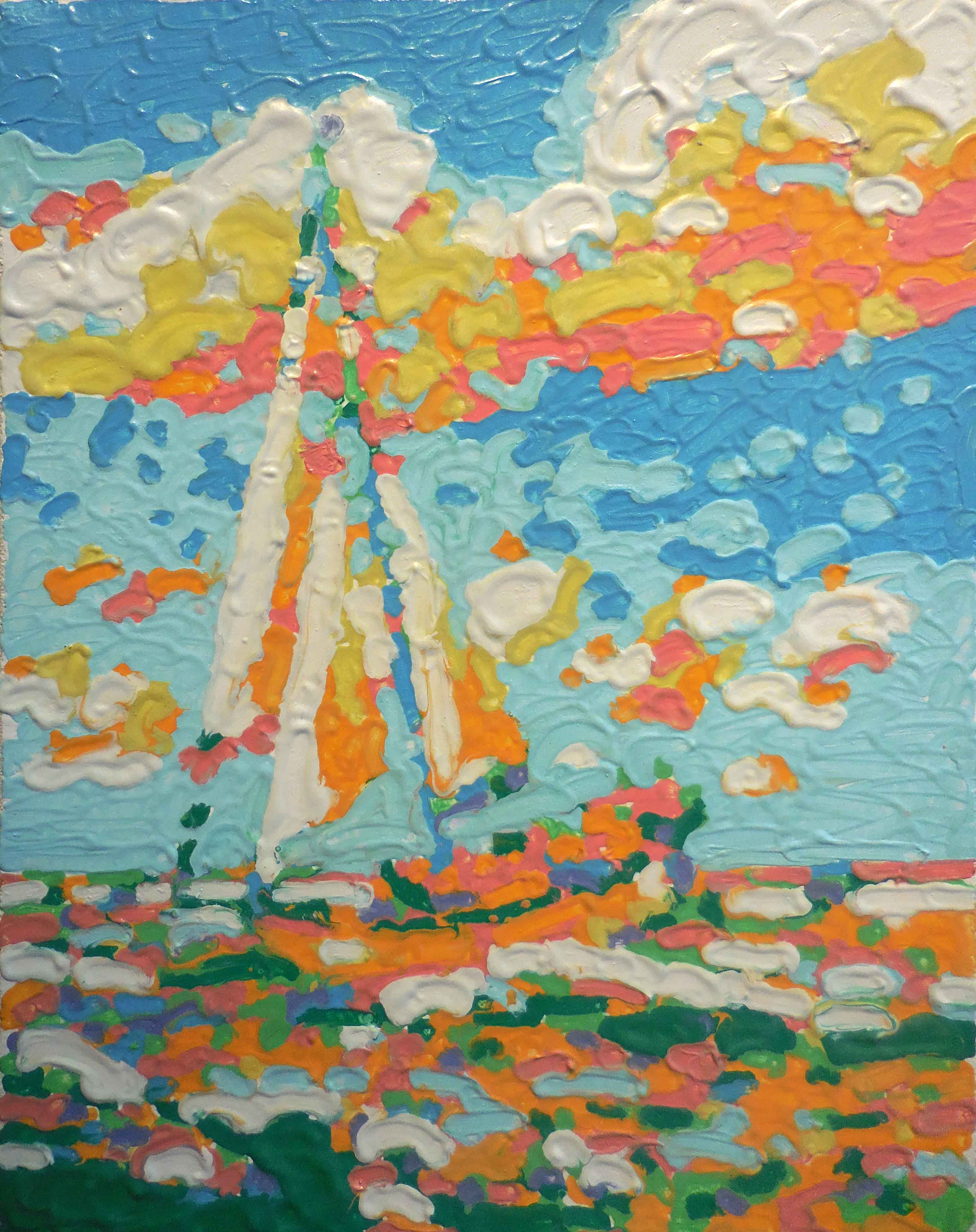 Oil pastel melted on canvas of sailboat by tom lohre