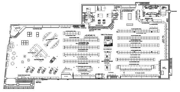 Main floor plan for Clifton Market with kitchen on main floor.