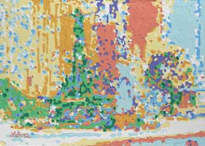 Fountain Square, Cincinnati Ohio by Tom Lohre; Painting of adaptation of the best of the old fountain series done on the square in 2006 and used the new pixelated manner with the new colors and structure.