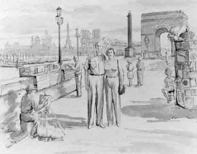 Watercolor of couple in Paris by Tom Lohre.