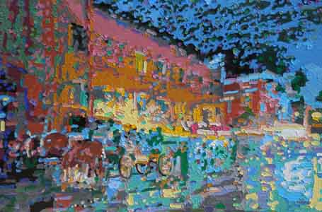Impressionist painting in faux gold leaf frame of Holidays on Ludlow, Clifton Cincinnati, Ohio by Tom Lohre.