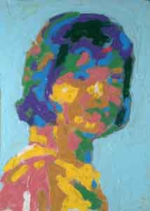 Impressionist portrait of Jacqueline Kennedy  by Tom Lohre after Jacques Lowe.