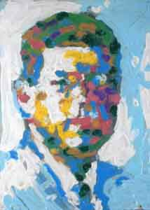 Impressionis portrait  of John Kennedy  by Tom Lohre after Norman Rockwell.