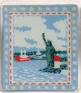 Four color reverse silkscreen print on glass of Nantucket's Brant Point Lighthouse with the Statue of Liberty  celebrating the anniversary of the statue in 1986 by Tom Lohre.