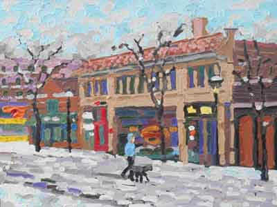 Impressionist painting of the famous Ludlow Garage in Cilfton, Cincinnati, Ohio by Tom Lohre.