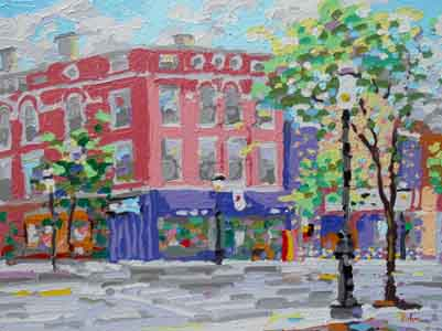 "Ludlow and Telford Avenues, Clifton, Cincinnnati; 16"" x 12"", Oil on aluminum, painting by Tom Lohre."