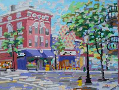 "Ludlow and Telford Avenues II, Clifton, Cincinnnati; 16"" x 12"", Oil on aluminum, painting by Tom Lohre"