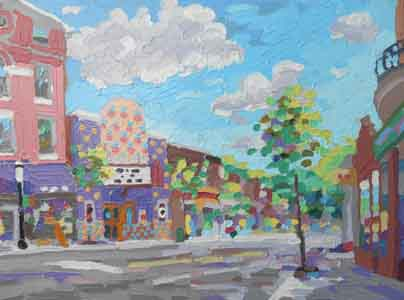 "Tom Lohre painting of Ludlow and Telford Avenues III, Clifton, Cincinnati; 16"" x 12"", Oil on aluminum, July 15, 2013, available."