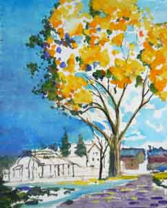 Painting of Evanswood Place Clifton Cincinnati Ohio in the manner of Maxfield Parrish by Tom Lohre.