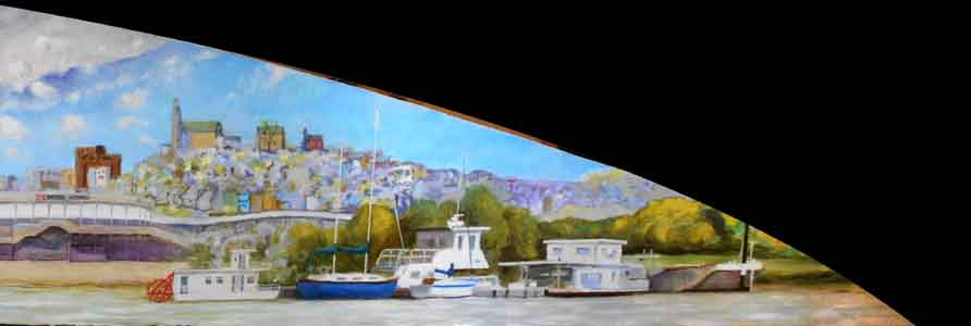 Ohio River Launch Club  and Mount Adams painting  by Tom Lohre.
