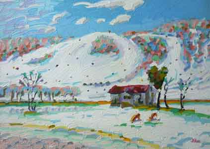 Impressionist oil painting of Perfect North Ski Slopes, Lawrenceburg, IN by Tom Lohre.