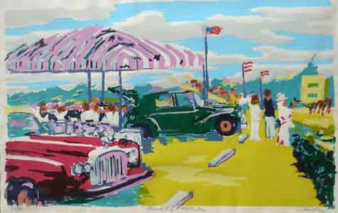 Silkscreen print of a Palm Beach polo grounds tailgate party by Tom Lohre.