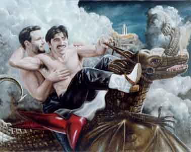 Portrait of Two Men Rhett Fire and Mel Odem Traditional Oil Painting on Canvas by Tom Lohre