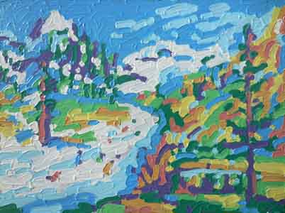 Squaw Valley impressionist painting showing the  mountian  from the resort by Tom Lohre.