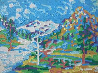 Impressionist oil painting of Squaw Valley by Tom Lohre.