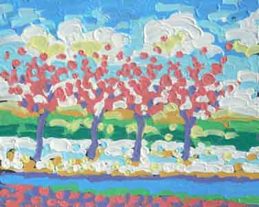 Landscape of red trees outside Superior Honda oil pastel on metal by Tom Lohre