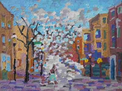 Impressionist painting of Telford Avenue, Clifton, Cincinnati, Ohio by Tom Lohre.