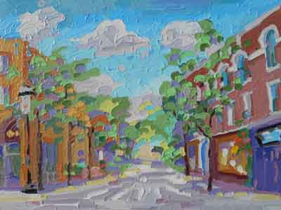 Telford Avenue Clifton Gaslight impressionist painting by Tom Lohre.