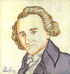 Thomas Paine watercolor portrait by Tom Lohre.