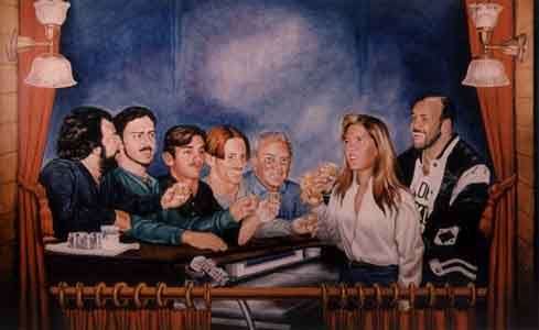 Family mural of the owner  with friends by Tom Lohre.