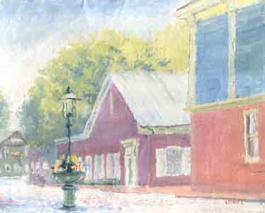 Union Street, Nantucket, oil on t-shirt material by Tom Lohre.