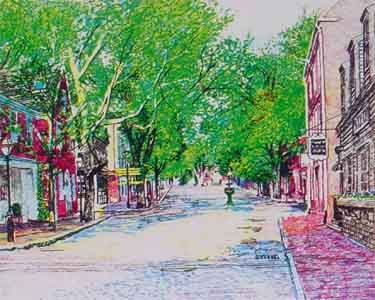 Silk screen print of Upper Main Street Nantucket by Tom Lohre.