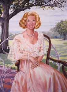 Portrait of a Lady by Tom Lohre in pinks and impressionistic  background.