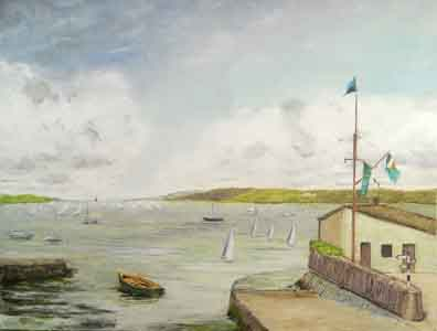 Painting of Baltimore Bay  with light green and yellow colors with gray sky.