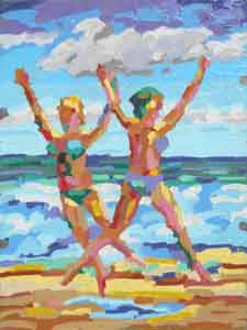 Bwach Dancers impressionist oil painting by Tom Lohre.