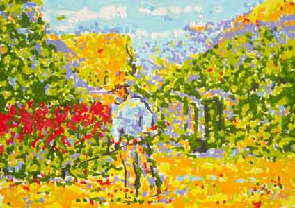 impressionist oil painting i\of man in field working by Tom Lohre.