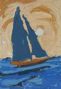 Impressionist painting of  sailboat by Tom  Lohre.