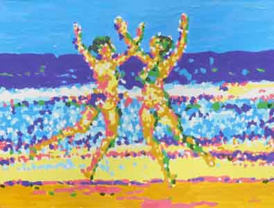 Beach dancers painting oil on board by Tom Lohre