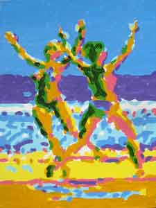 Oil painting of dancers on a beach by Tom Lohre