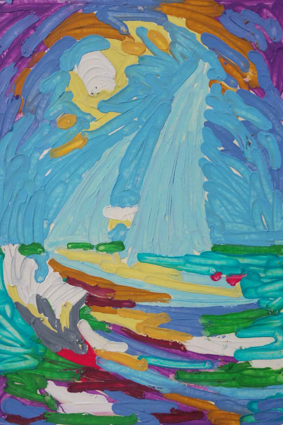 Oil pastel melted on paper of the ship emma lou by tom lohre
