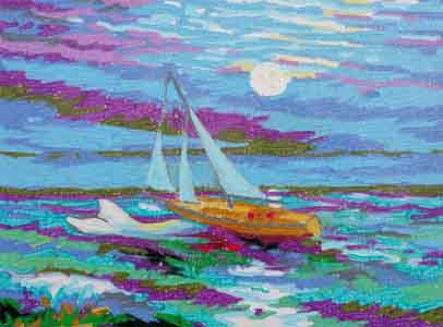 42' Westsail Fiona  crossing the Bay of Biscay , oil pastel on board by Tom Lohre.