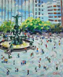 Impressionist oil painting of fountain square cincinnati ohio by Tom Lohre