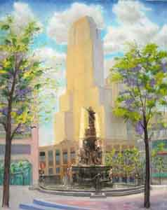 Fountain Square Oil Painting by Tom Lohre
