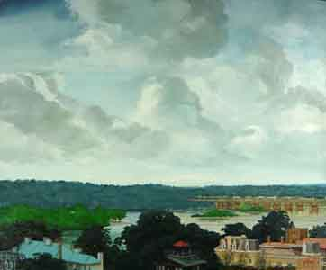 Oil painting of Harrisburg, Pennsyvania showing old roof tops , City Island and the river bridges by Tom Lohre.
